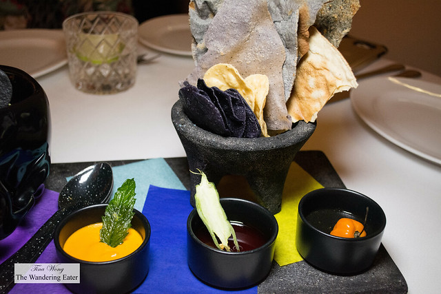 Three different housemade moles (mild to spicy with the habanero) and toast tortilla chips