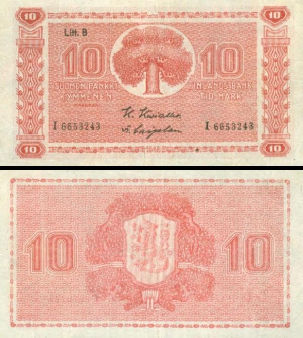 10 Markka Fínsko 1945, P85