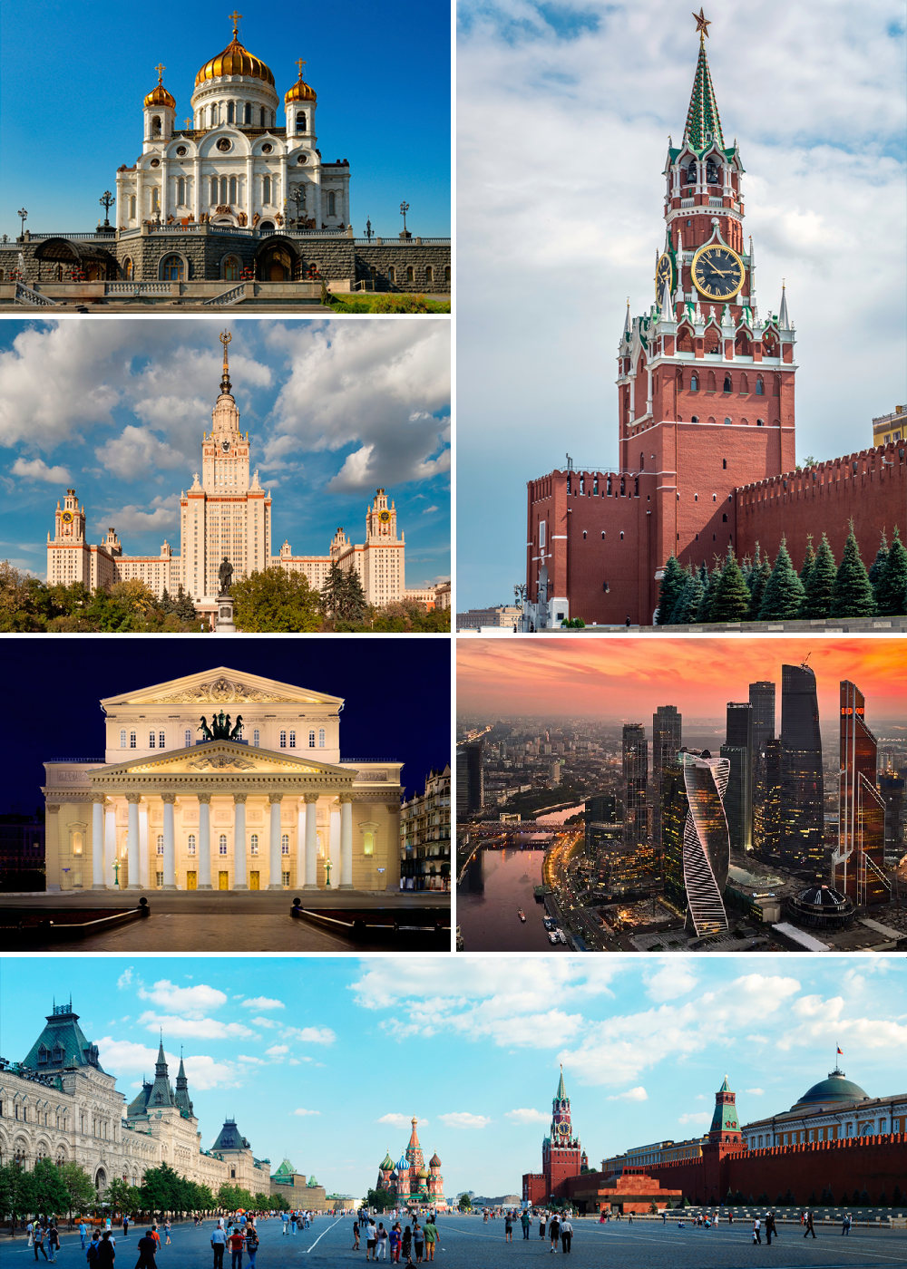 Sites of Moscow. Clockwise from top left: Cathedral of Christ the Saviour; Spasskaya Tower of the Moscow Kremlin; MIBC; Red Square, Saint Basil's Cathedral; Bolshoi Theatre; and Moscow State University