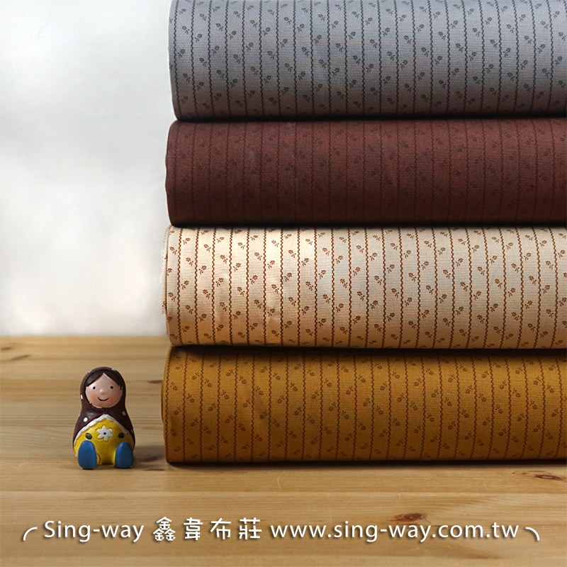 條紋小花 簡約花卉 滾邊配布 手工藝DIy拼布布料 CA450725