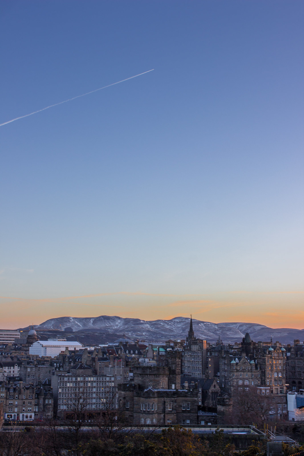 Sunset over Edinburgh and the Blackford Hills