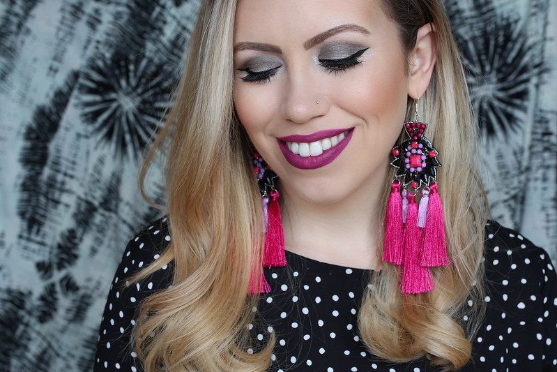 Hot Pink Lipstick ASOS Statement Embroidered Stone Tassel Earrings