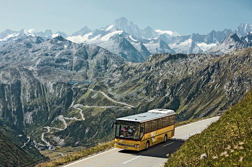 Central Alps Passes PostBus Route. From Have A Swiss Travel Pass? Happy Traveling via Trains, Boats, and Land