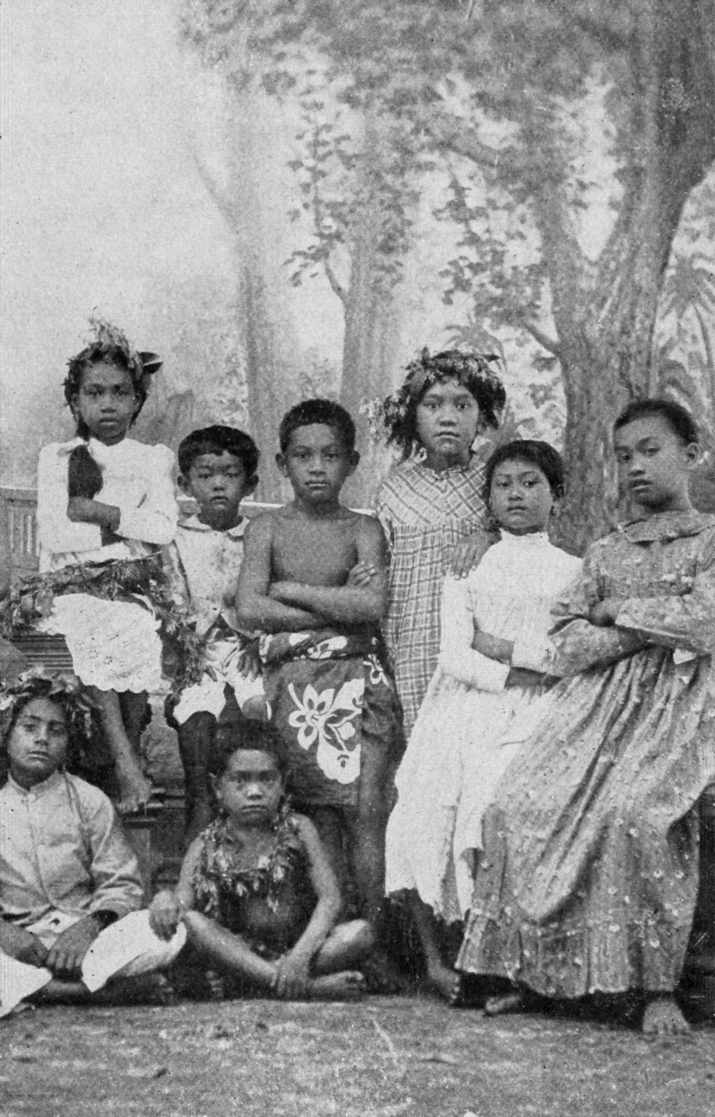 Tahitian schoolchildren, circa 1906.