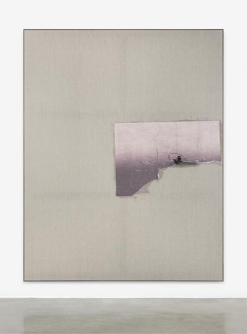 07-David-Ostrowski, F (Wenn ich mich langweilen will, fahre ich in einen Stau), 2016, paper on linen, wood, 241 x 191 cm