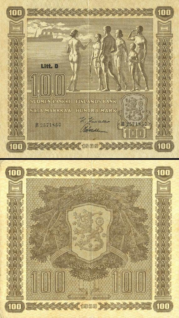 100 Markka Fínsko 1939, P73