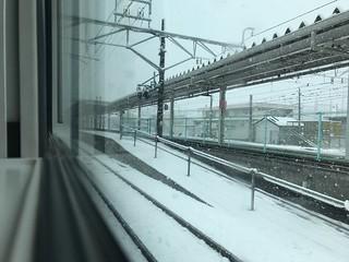 大雪の大月駅