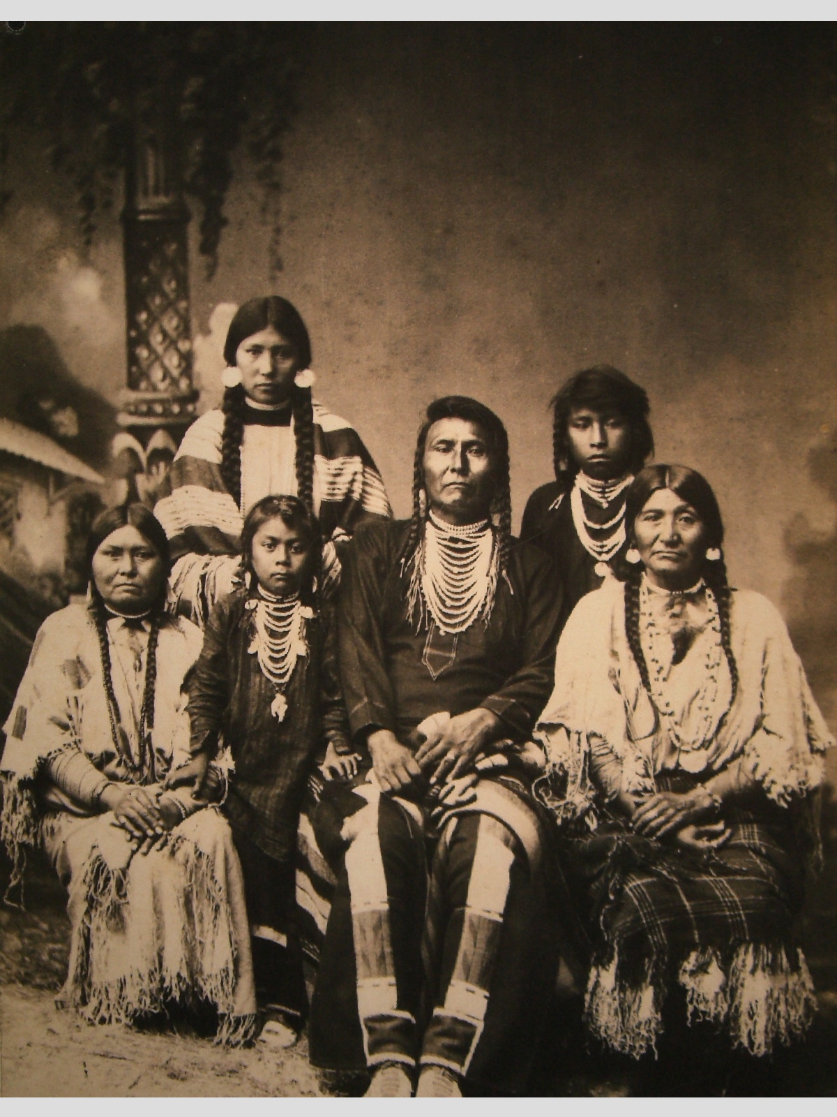 Chief Joseph and his family, photographed at Fort Leavenworth, Kansas, circa 1880.
