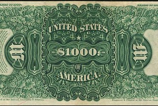 Back of 1880 #1000 Legal Tender Note
