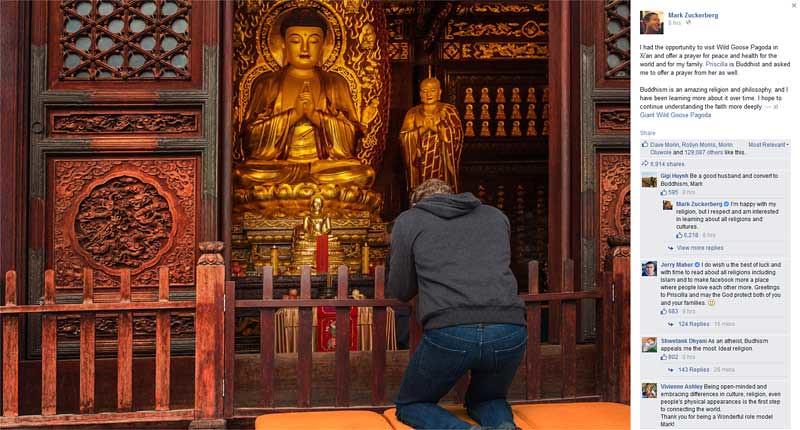 Tampak dari belakang Mark Zuckerberg memberikan penghormatan kepada rupaka Buddha di Pagoda Dayan, Shaanxi, Tiongkok, Selasa (27/10/2015).