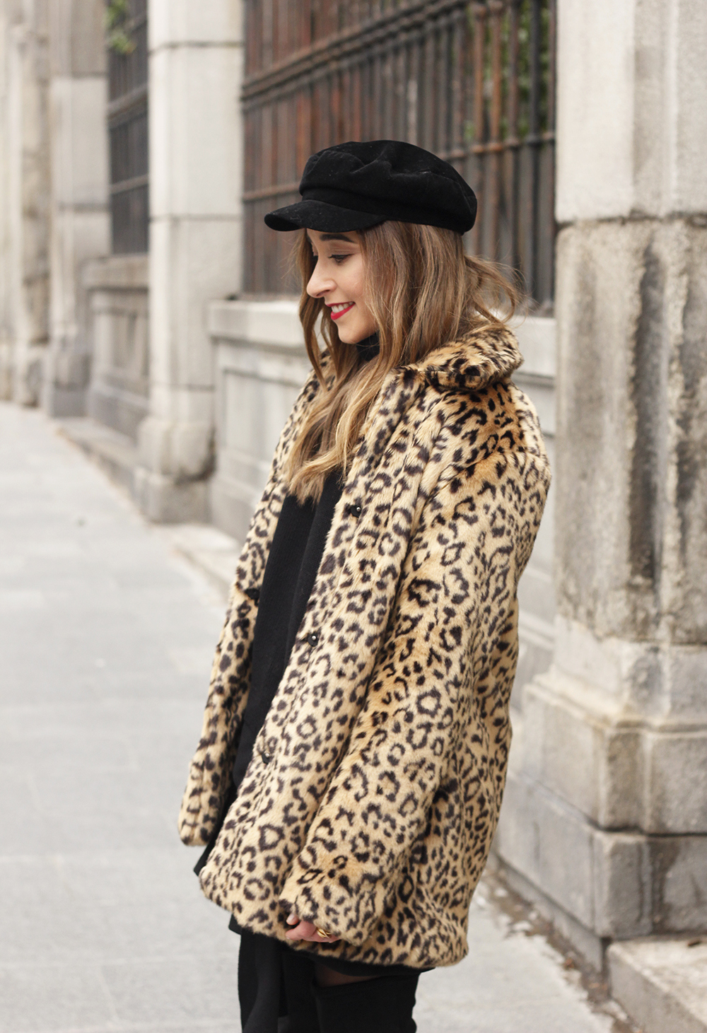 leopard coat black outfit over the knee boats givenchy black cap winter outfit10