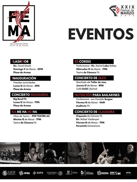 Festival de Marzo 2018, Eventos