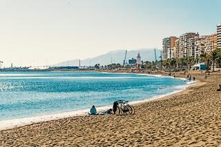 Attēls no Playa de La Malagueta La Malagueta Beach. malaga playa beach malagueta january sun sea travel