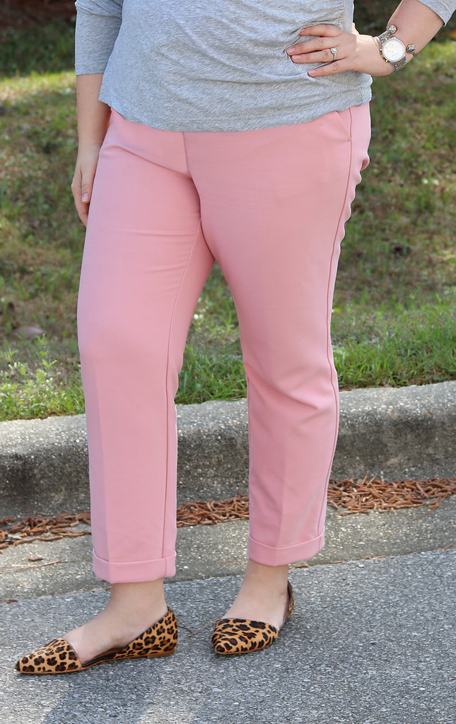 pink dress pants, gray wrap shirt, leopard flats 1