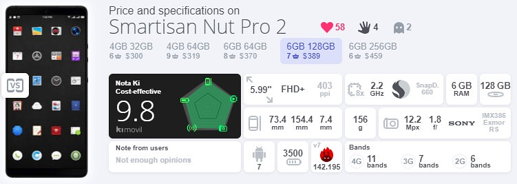 Smartisan Nut Pro 2 スペック (1)