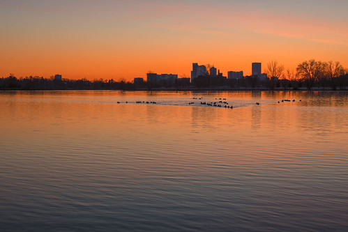 sunrise dawn daybreak morning light sloanslake denver colorado reflections skyline trees silhouettes geese landscape