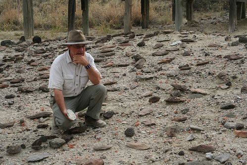 Potts looking at Olorgesailie Handaxes