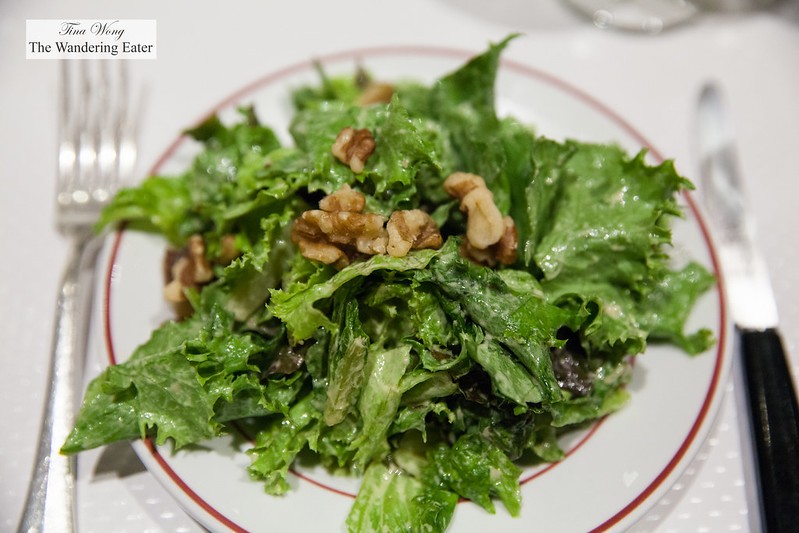Salad with walnuts and mustard dressing