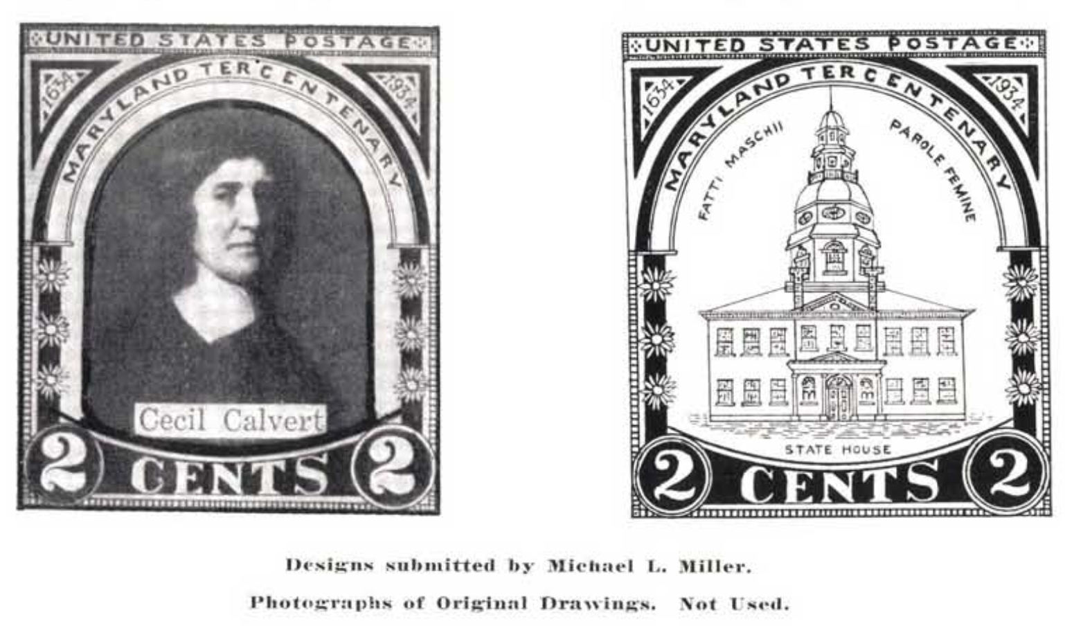 Maryland Tercentenary issue - unused designs submittled by Michael L. Miller