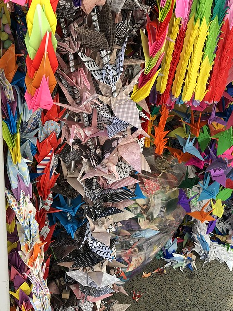Better shot of paper cranes at children's memorial