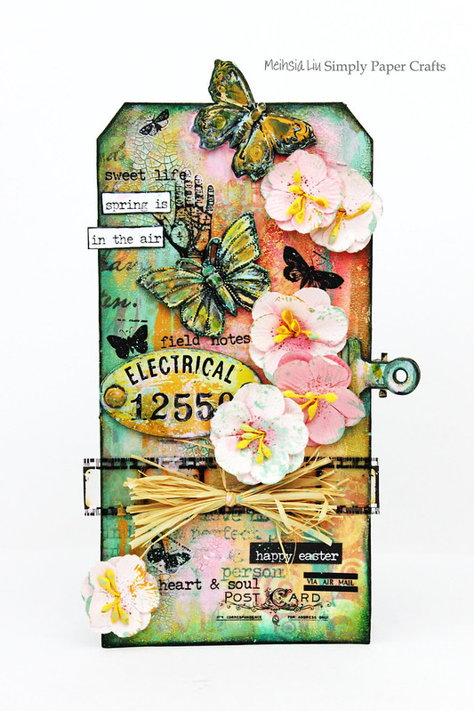 Meihsia Liu Simply Paper Crafts Mixed Media Tag Spring Simon Says Stamp Tim Holtz Prima Flowers
