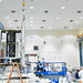 EUTELSAT 7C satellite above in assembly and test at Space Systems Loral's facility (Credit: Photo courtesy of Space Systems Loral)