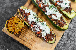 Greek-influenced Planked Zucchini Boats