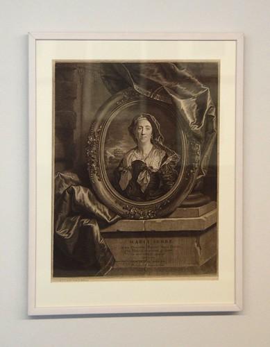 Maria Serre, mor till konstnären Hycinthe Rigaud. Grafiken av Pierre Drevet