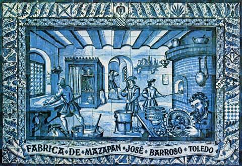 Grabado de fabricación de mazapán. Casa José Barroso.