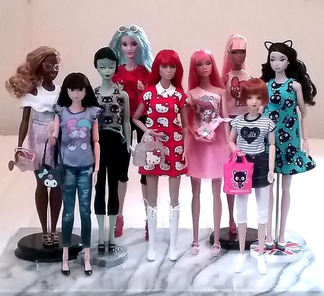 Dolls in Sanrio sets