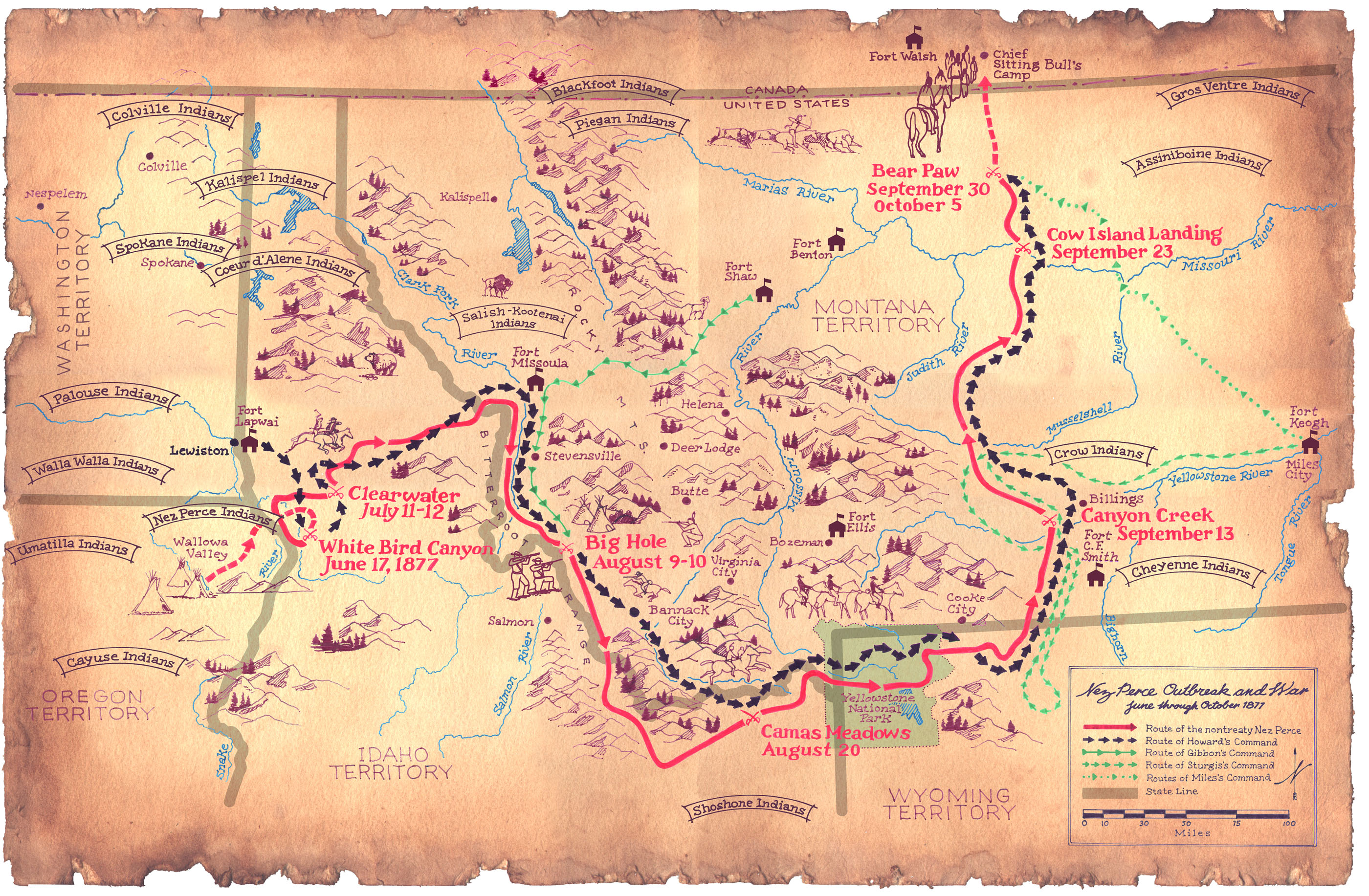 Map of the flight of the Nez Perce and key battle sites of the Nez Perce War, 1877.