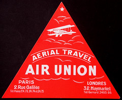 Air Union First Luggage Label, front