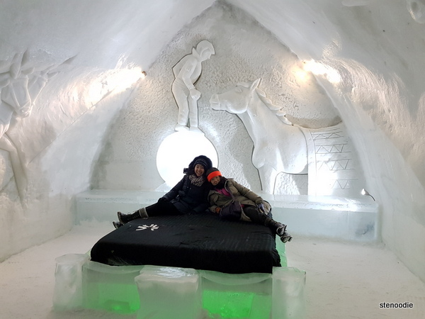 Ice bed in ice hotel Quebec