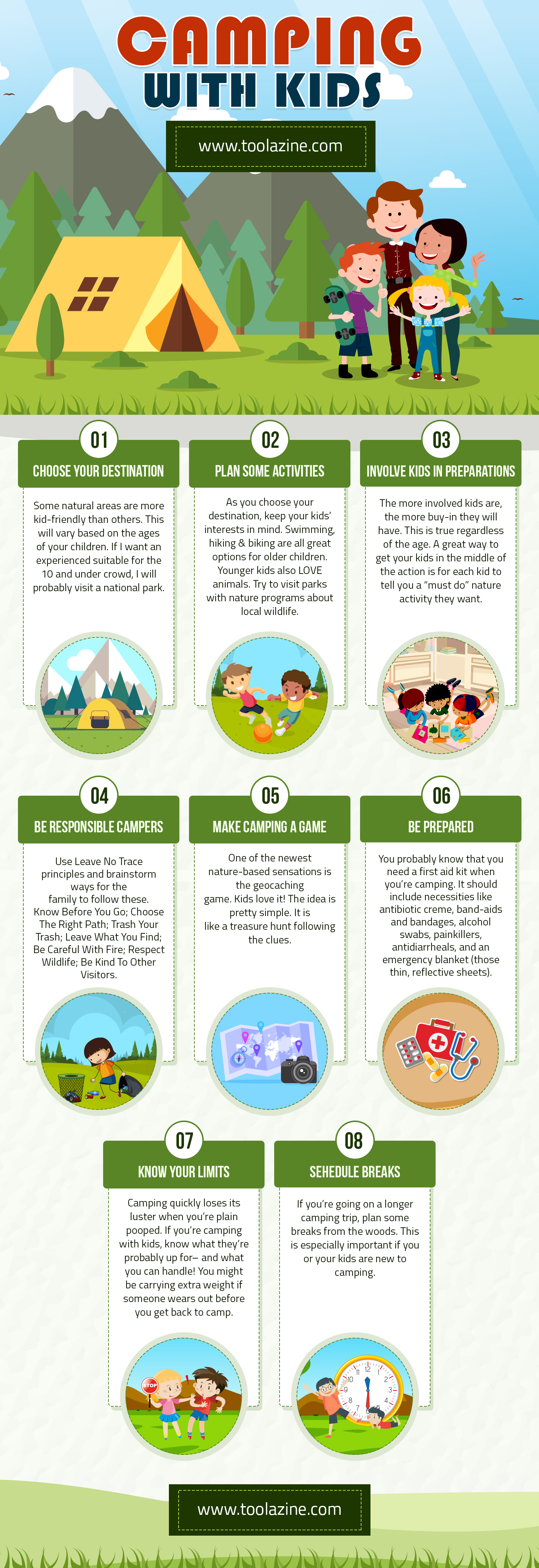 Camping with kids: infants, toddlers, pre-teens & teens | Hacks & tips for families to make your trip safer & easier Infographic