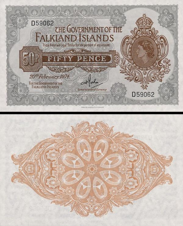 50 falklandských pencí Falklandy 1974, P10b