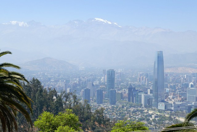 View over Santiago from the Teleferique San Cristobal