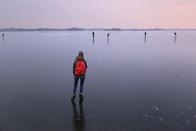 Samantha enjoys the wide view over the icy lakes of Terra Nova