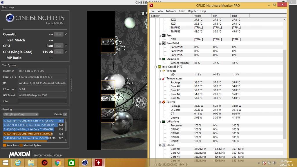 temperatura del core i5 3470 usando cinebench r15 | hugotak