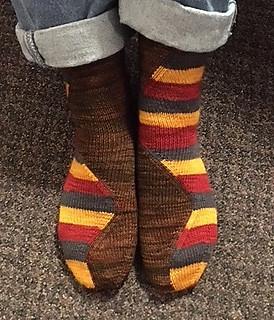 sandima (Sandi)'s Stitch Surfer Socks knit with Stray Cat Socks and Malabrigo Sock