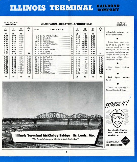 Illinois Terminal Railroad's 1953 Schedules [page 5]
