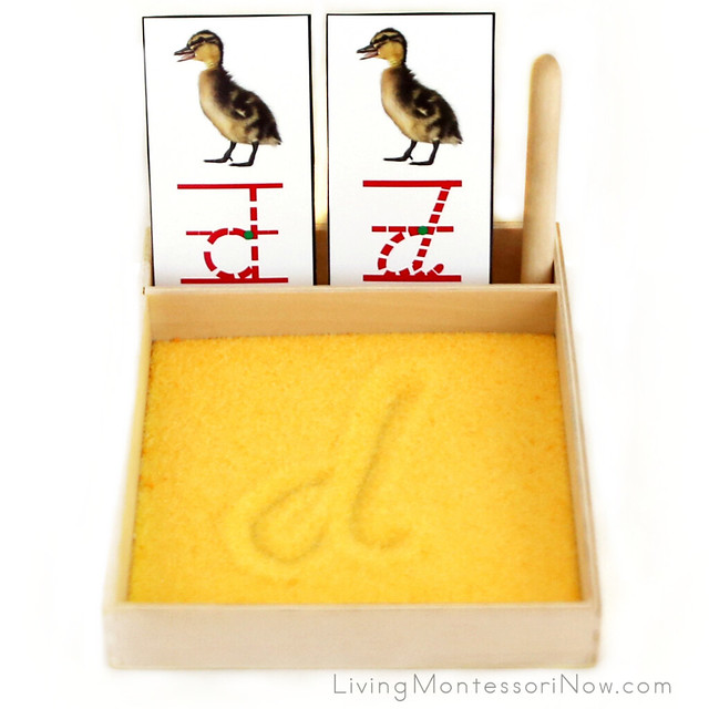 Duckling Salt Writing Tray with Fonts for Letter D