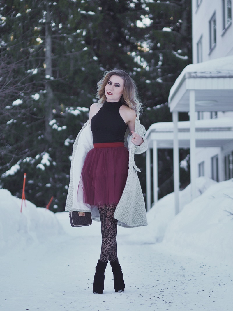 tulle skirt outfit for winter