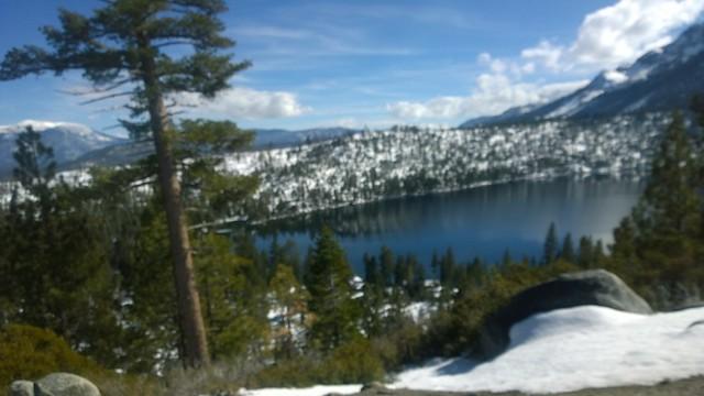 Cascade lake in march