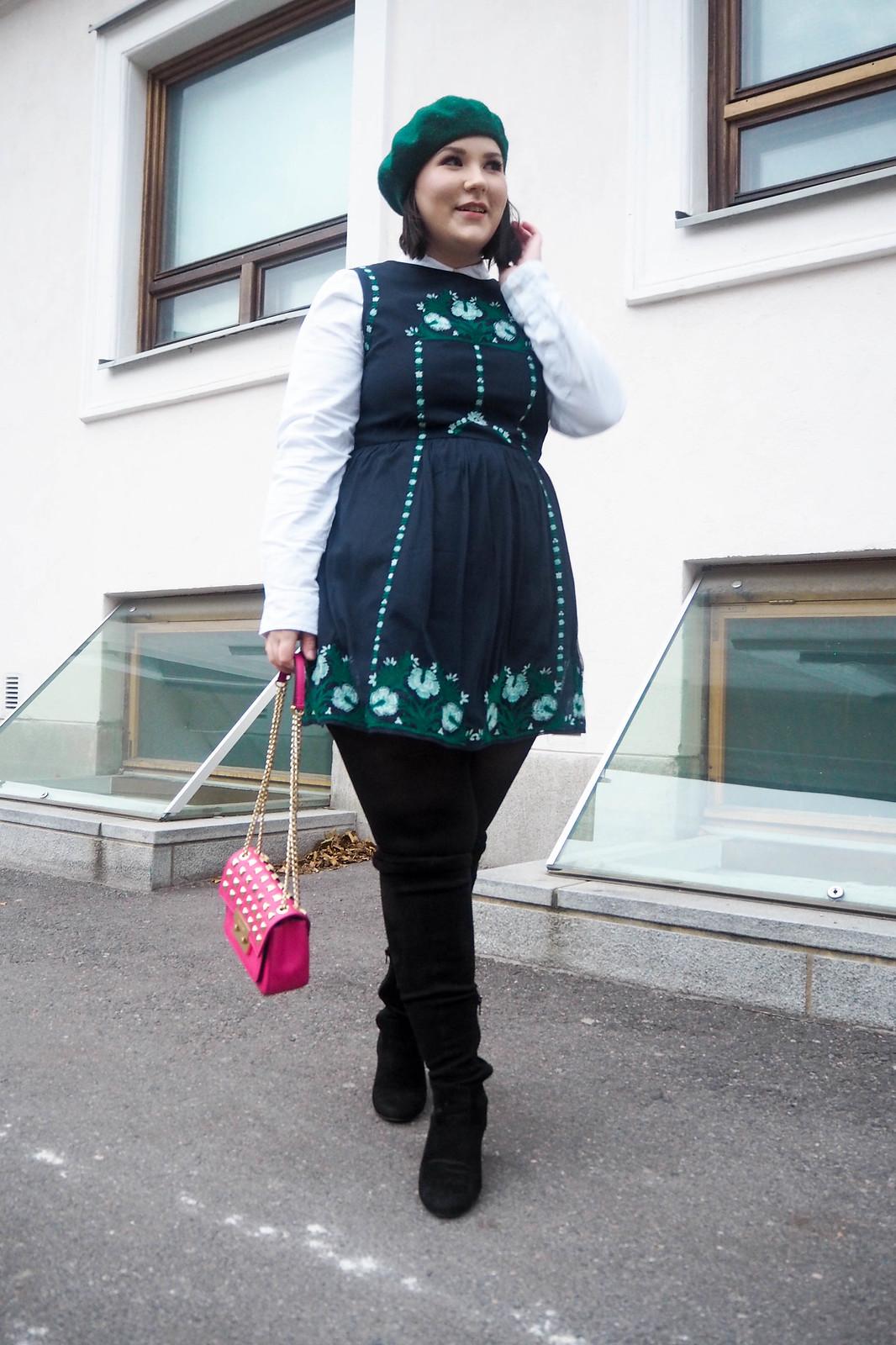 Vihreä baskeri kuvioitu mekko-21