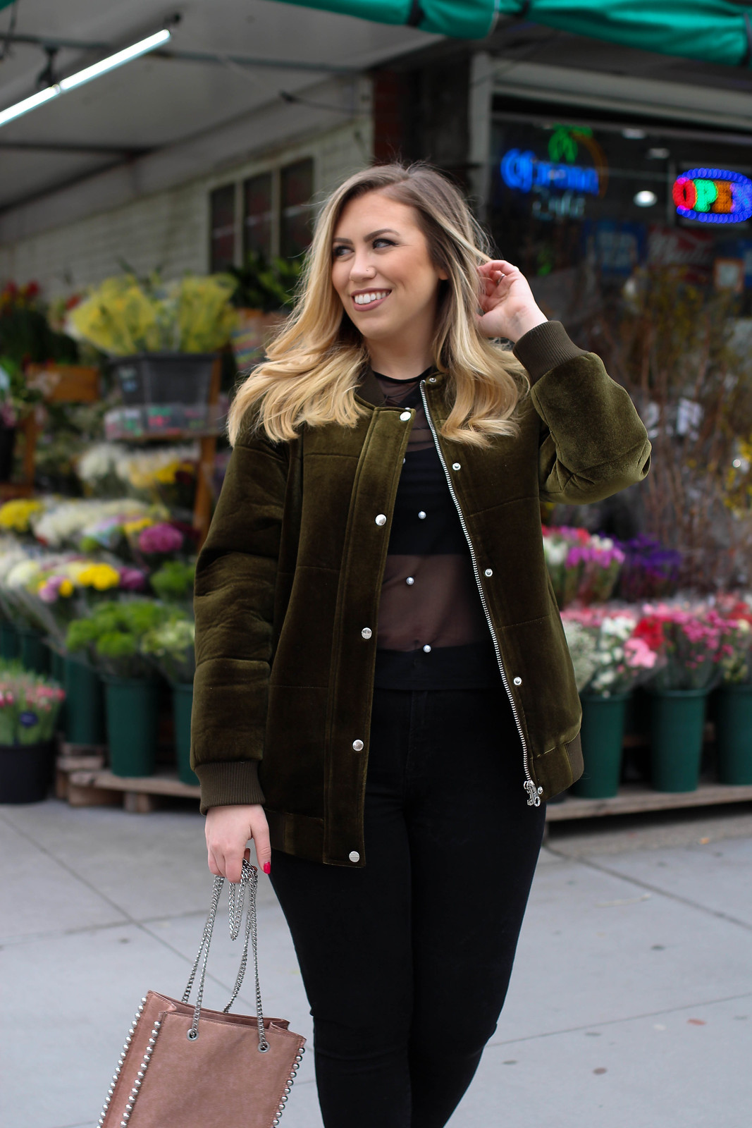 Green Velvet Members Only Bomber Jacket Early Spring New York Outfit Living After Midnite Jackie Giardina Style Blogger