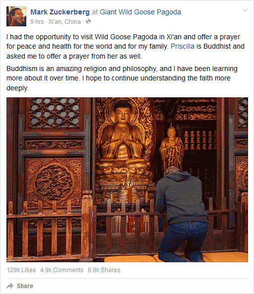 Status Mark Zuckerberg: Buddhism is an amazing religion and philosophy, Selasa (27/10/2015), 12.56 p.m.