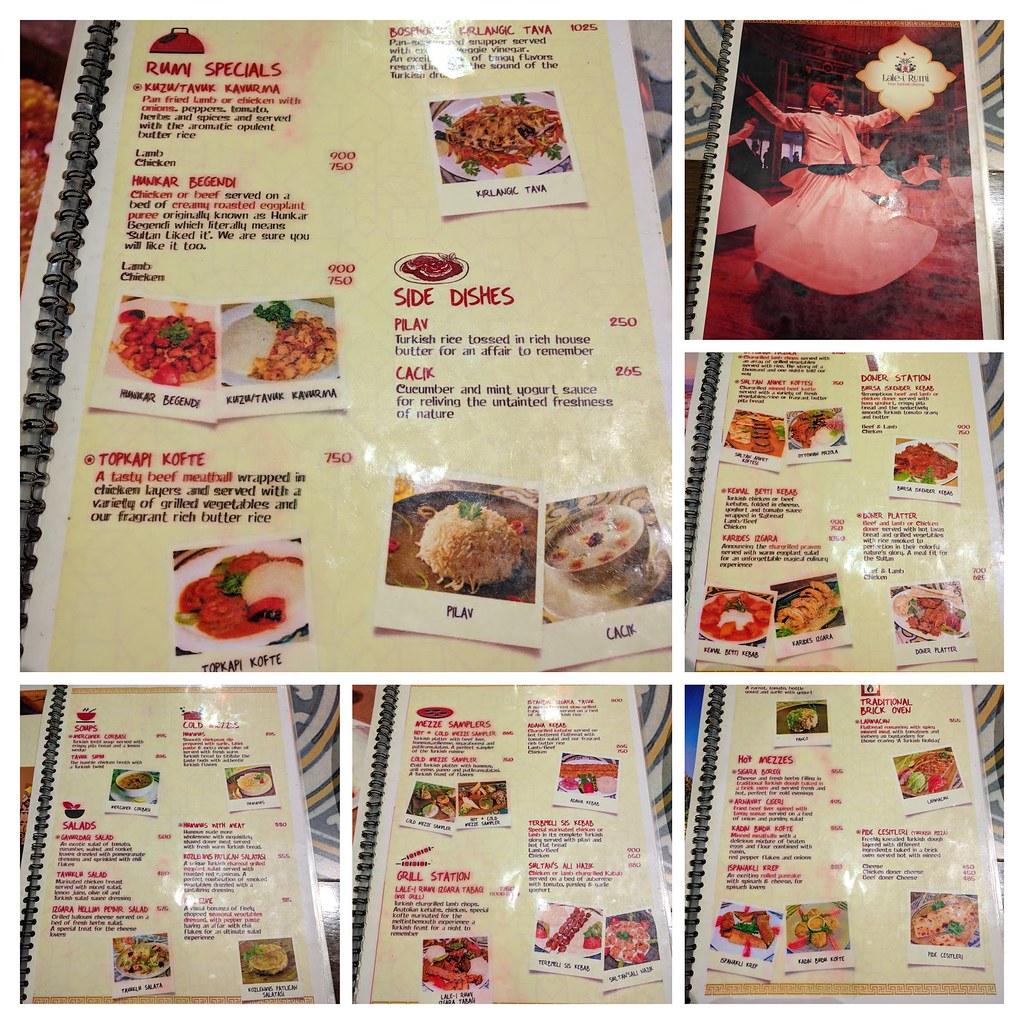 巴基斯坦拉蕊魯米餐廳道地的土耳其菜單