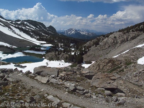 Descending back toward Barney Lake from Duck Pass in Inyo National Forest, California