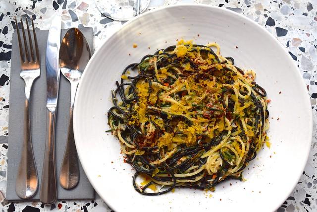 Crab, Chilli Agretti, Black and White Spaghetti & Bottarga at Pastaio, Soho #pasta #pastaio #london