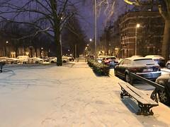 Aire de repos sous la neige